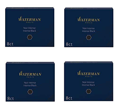 Waterman Refill Cartridges for Fountain Pens, Intense Black Ink, Pack of 32 (S0110850)