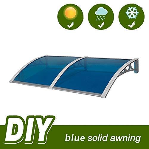 Auvent de Porte Entrée Marquise QIANDA Extérieur Store for Fenêtre Patio Couverture Abri Bleu Abri ABS, avec Support Gris (Size : 200cmx60cm)