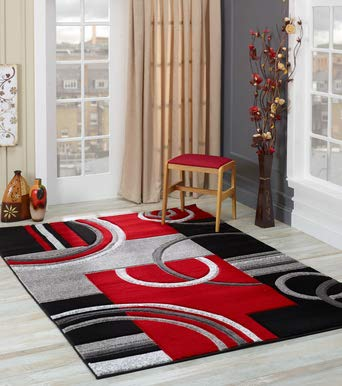 Glory Rugs Area Rug Modern Soft Hand Carved Contemporary Floor Carpet with Premium Fluffy Texture for Indoor Living Dining Room and Bedroom Area (4x6, Red)