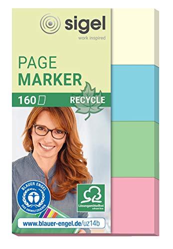 SIGEL HN604 Haftmarker aus Recycling-Papier, 160 Streifen im Format 20 x 50 mm, gelb, blau, grün, rot