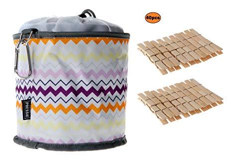 Frank Pressie Groß Wäscheklammerbeutel zum Aufhängen Wasserdicht Korb mit Karabinerhaken Wetterfeste Wäscheklammertasche für Wäscheleine mit 40 Holzklammern