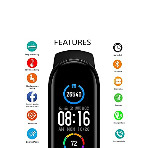 Tokdis Smart Band 2.36 – Fitness Band, 1.1-inch Color Display, USB Charging, 3 Days Battery Life, Activity Tracker, Men's and Women's Health Tracking, Yellow Strap