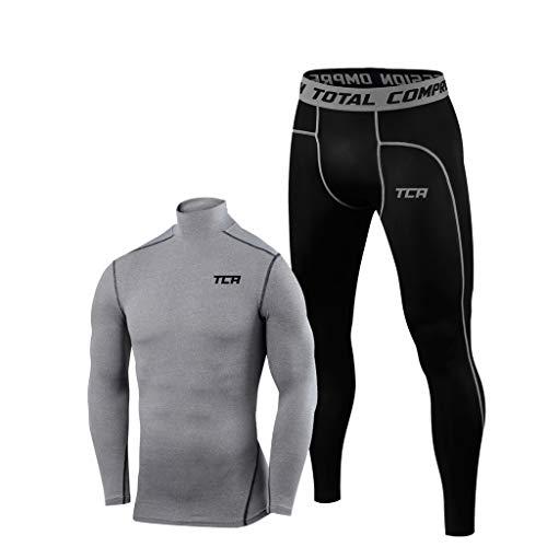 TCA Conjunto de Mallas y Top de Compresión Pro Performance para Hombre - Top con Cuello Alto Gris + Medias Negras, XL