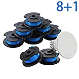 UNIQBEST String Trimmer Replacement Spool for Ryobi One Plus AC14RL3A 11ft 0.065' Cordless Weed Eater Line Refill (8 Spools,1 Cap) Compatible Cover AC14HCA Ryobi One+ 18V 24V 40V