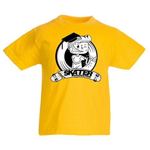 lepni.me Kinder Jungen/Mädchen T-Shirt Pro Skate Academy für Skater, Longboard, Geschenk für Skateboarder (12-13 Years Gelb Mehrfarben)