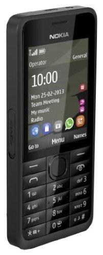 Nokia 301 Handy (6,1 cm (2,4 Zoll) Bildschirm, 3,2 Megapixel Kamera, Stereo FM, microSD-Kartenslot) schwarz