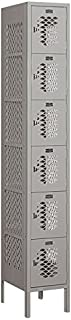 Salsbury Industries 76165GY-U Six Tier Box Style 12-Inch Wide 6-Feet High 15-Inch Deep Unassembled Vented Metal Locker, Gray