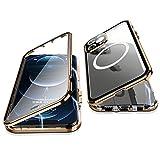 Jonwelsy Cover per iPhone 12 PRO Max, 360 Gradi Protezione Doppia Faccia Compatibile Magsafe Adsorbimento Magnetico Metallo Case Anteriore Vetro e Posteriore Matte PC Custodia per 12 PRO Max (Oro)