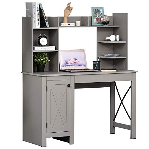 HOMCOM Home Office Desk Computer Desk with Hutch and Storage Cabinet, Study Writing Table Workstation,Grey