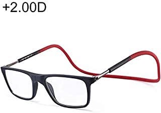 SGJFZD Anti Blue-ray Adjustable Neckband Fashion DesignMagnetic Connecting Presbyopic Glasses, 2.00D (Color : Red)
