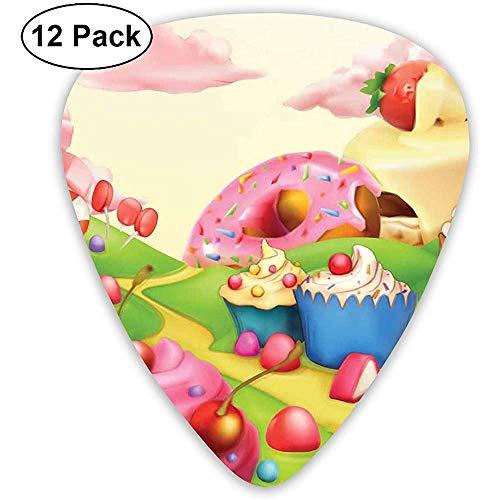 Guitar Picks 12er Pack, leckere Donuts Sweet Land Cupcakes Eis Zuckerwatte Wolken Kinder Kinderzimmer Design
