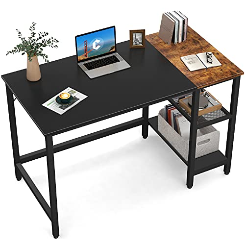 CubiCubi Computer Home Office Desk, 47 Inch Small Desk Study Writing Table with Storage Shelves, Modern Simple PC Desk with Splice Board, Black/Brown