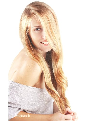 """TRESSMATCH 20""""-22' Remy Human Hair Clip in Extensions Strawberry/Dirty Blonde Highlights..."""