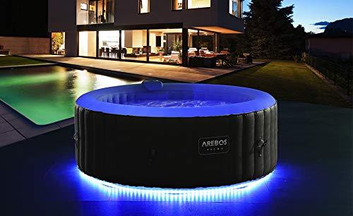 Arebos Piscina de hidromasaje con iluminación LED | Jacuzzi | 6 colores | hinchable | redonda | para interior y exterior | 4 personas | 130 chorros de masaje | 1000 litros