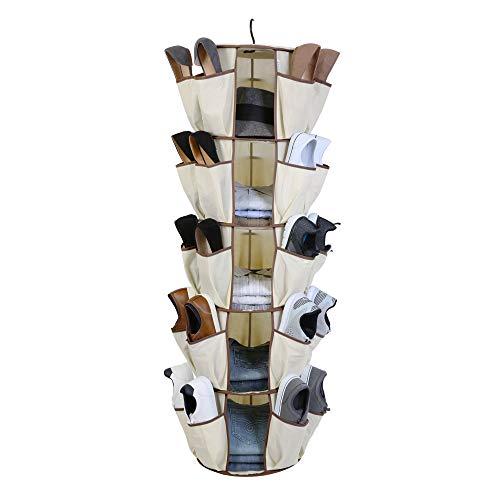 Smart Design 5-Tier Smart Carousel Organizer w/ 40 Pockets & Steel Metal Hook - 360 Degree Swivel - Heavy Duty Fabric - Clothing, Shoes, Misc. Item -...