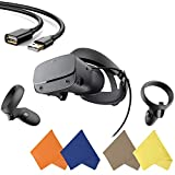 Oculus - Rift S PC-Powered VR Gaming Headset - Black - Two Touch Controller, 3D Positional Audio, Insight Tracking, Adjustable Halo Headband - BROAGE Glasses Cleaning Cloth + 5FT USB Extension Cable