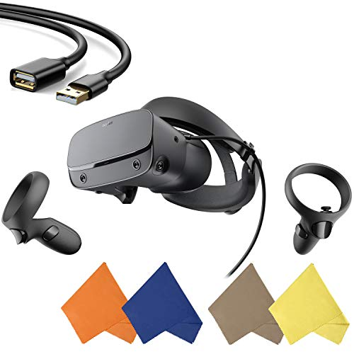 Oculus - Rift S PC-Powered VR Gaming Headset - Black - Two Controller, 3D Positional Audio, Insight Tracking, Adjustable Halo Headband - BROAGE 4 Packs Glasses Cleaning Cloth + 3FT USB Extension Cable