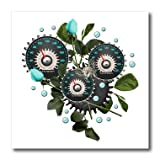 3dRose Dooni Designs Steampunk Designs - Cool Steampunk Barometer and Aqua Roses - 6x6 Iron on Heat Transfer for White Material (ht_102671_2)