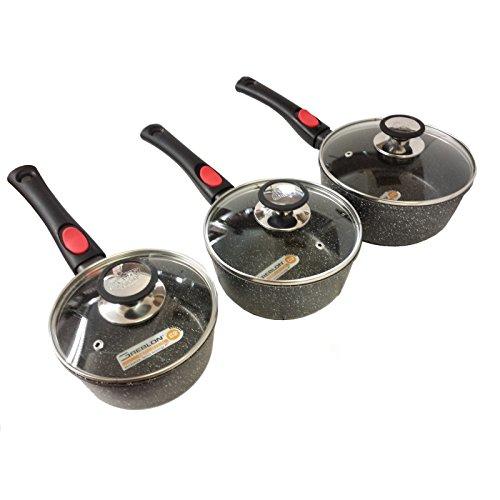 Espace Cuisine - set de 3 casseroles 16-18 et 20 cm revêtement façon pierre avec 3 couvercles