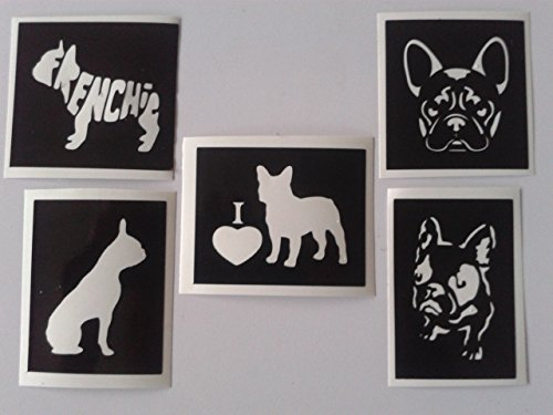 12 x French Bulldog Frenchie Mixed Stencils for Etching on Glass Gift Present Glassware Hobby Craft