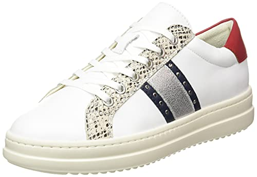Geox D PONTOISE G, Zapatillas Mujer, Blanco Azul Marino, 39 EU