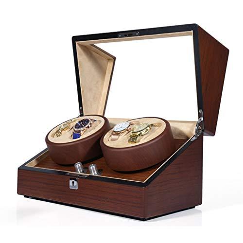 CHYOOO Reloj Caja Caja de Enrollador de Relojes de Rotación Automática Motor Mabuchi Silencioso Reloj Silencioso Elaborado Manualmente Vitrina Caja Almacenamiento Reloj (Color : 4+0)