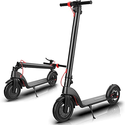 YYGG Electric Kick Scooter, X7 Scooters for Adults with Three Speeds Up to 13 Miles 19MPH Portable Folding Commuting Electric Scooters 8.5' Tires Double Braking System