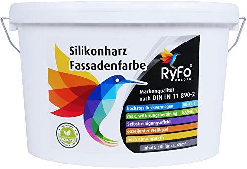RyFo Colors Silikonharz Fassadenfarbe 10l (Größe wählbar) - hochwertige Silikonharzfassadenfarbe, weiß, Außen-Farbe-Dispersion, wasserabweisend, Abperleffekt, Wetterschutz, hohe Deckkraft