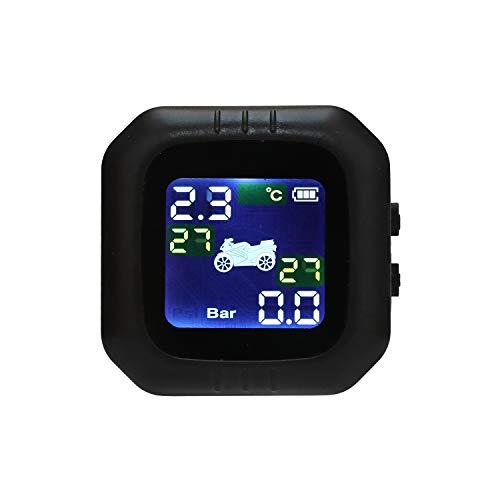 KKmoon TPMS Sistema de Monitoreo de Presión de Neumáticos de Moto, Presión de Neumáticos Manómetro de Motocicleta Impermeable, Monitor Presión Neumáticos Inalámbric Moto con 2 Sensores