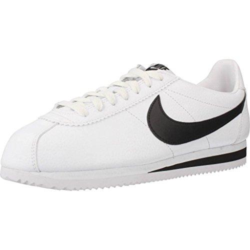 Nike Classic Cortez Leather, Zapatillas de Running Hombre, Blanco / Negro (White / Black), 39