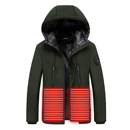 ZHANSANFM Softshell Beheizbare Jacke Herren USB Smart Elektrische Heizung Winterjacke mit Kapuze Wasserdicht Winddicht warm Funktionsjacke für Outdoor Skifahren Bergsteigen Angeln (2XL, Grün)