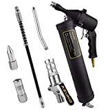 AZUNO Pneumatic Grease Gun, Heavy Duty 6000 PSI Air Compressor Grease Guns with Flex Hose, Metal Extension, Professional Coupler and Sharp Nozzle