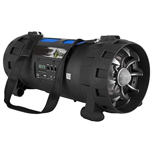 XX.Y P-137J tragbarer Bluetooth Lautsprecher Boom Box (NFC) mit eingebautem Radio FM, Akku/Audio-Eingang für Mikrofon/Musikinstrument/MP3 Player/USB-Port schwarz