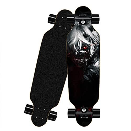 FWAHB Tablero Completo de Skateboard para Tokyo Ghoul: Kaneki Ken, Siete Capas de Skate a través de Freestyle Shortboard, Mini Longboard Completo, Adecuado para Adolescentes