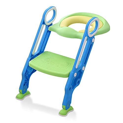 HENGMEI Adaptador WC Niños con Escalera Reductor WC niños Aseo Asiento Plegable Asiento de Inodoro para 1-7 niños, Azul + verde