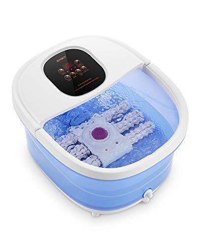 Masajeador de spa/baño para pies 6 en 1, calor, burbujas, vibración, 6 rodillos motorizados de Shiatsu, conversión de frecuencia, ajustes de tiempo y temperatura, para uso doméstico de los pies