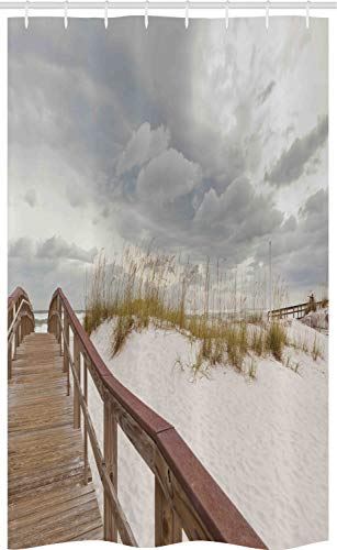 ABAKUHAUS Strand Schmaler Duschvorhang, Tropical Gulf Island, Badezimmer Deko Set aus Stoff mit Haken, 120 x 180 cm, Creme Grau