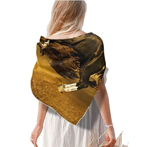 Bufanda cuadrada de seda para el cabello, saltando de caballo, puesta del sol, cuello para mujer, chales