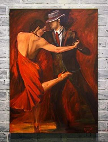 FA LEMON Bailarina de Flamenco española Abstracta Imagen de Arte de Pared Pintura de Lienzo para Sala de Estar Decoración del hogar-60x80cmx1 Piezas sin Marco