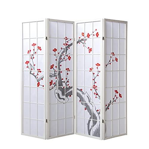 Homestyle4u 277, Paravent Raumteiler 4 teilig, Holz Reispapier, Weiß Kirschblüten Motiv…
