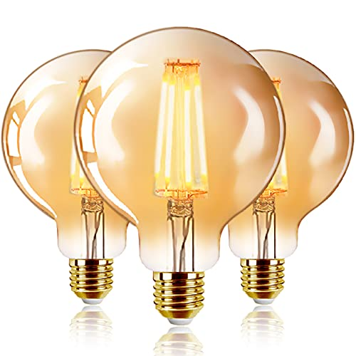 Bombillas Marrón G95 de Filamento LED E27 (Casquillo Gordo) - 6W Equivalente a 48W, 540 lúmenes, Color Blanco cálido 2200K. Bombilla Retro Vintage, No Regulable - Pack de 3 Unidades