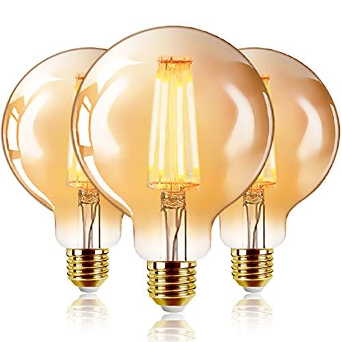 Bombillas Marrón G95 de Filamento LED E27 (Casquillo Gordo) - 6W Equivalente a 48W, 540 lúmenes, Color Blanco cálido 2200K....
