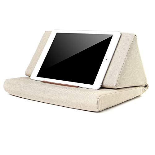 NVFED Multi-function Laptop Cushion Holder Colorful Lapdesk Tablet Stand Pillow Polyester Cutton PC Reading Bracket Pillow for ipad (Color : Khaki)