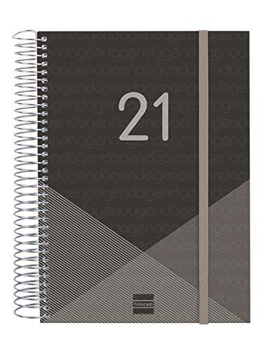 Finocam - Agenda 2021 1 Día página Espiral Year Negro Español - 175 x 212 mm