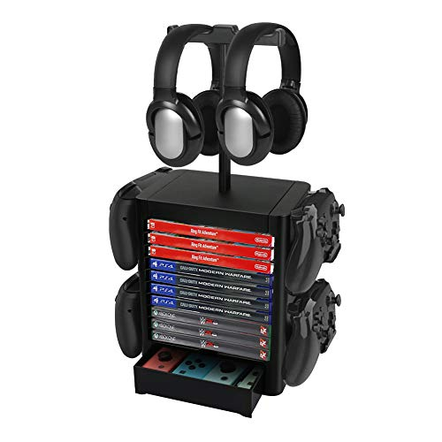 Number-one Game Storage Tower Bracket, Multifunction Gaming Disks Organizer Rack, Most Storage 10 Disk, 2 Headsets Stand 4 Controllers Holder Compatible with PS5/PS4/SwitchPro/XBOX Series Accessories