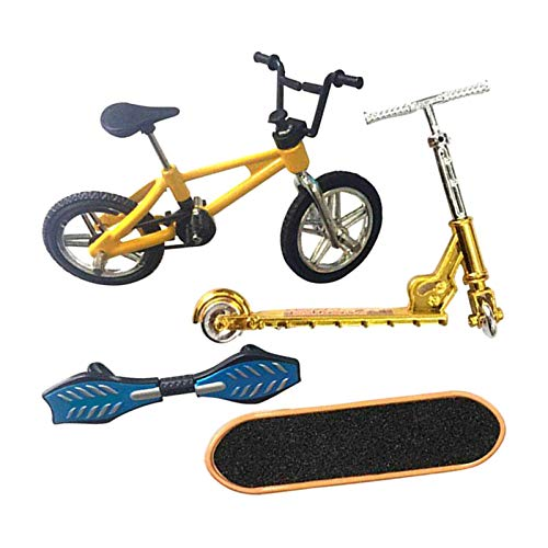 Perfeclan Mini Juego de Juguetes de Dedo monopatín Bicicletas de Dedo Scooter pequeño Swing Board 4 unids/Set - C