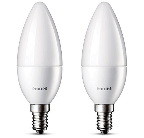 Philips Pack de 2 bombillas LED vela mate E14, 3 W, blanco, 2 unidades