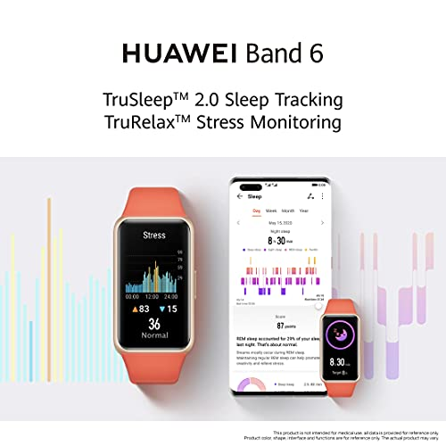 HUAWEI Band 6 Fitness Tracker Smartwatch for Men Women, 1.47''AMOLED Color Screen, SpO2,24H Heart Rate Monitor,14 Days Battery Life,Female Cycle Tracker, 5ATM Waterproof, Global Version,Black