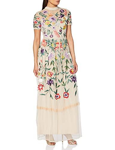 Frock and Frill Filomena Embroidered Maxi with High Neck Vestito da Sera Donna, Rosa (Angel Wings Nude), 42 (Taglia Produttore: UK 10)