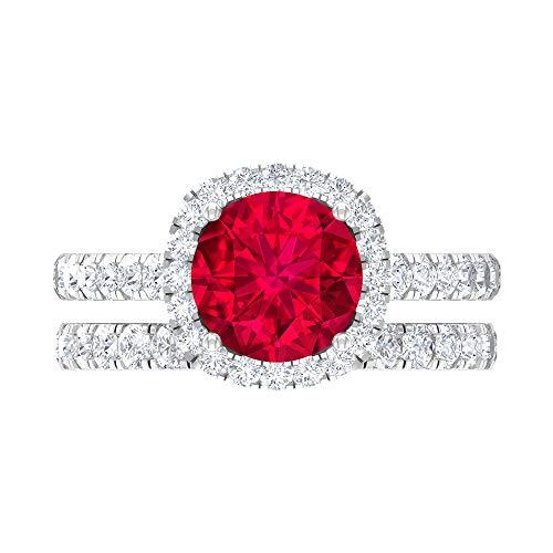 Juego de anillos de novia solitario, piedras preciosas redondas de 3,43 quilates, D-VSSI Moissanite 8 mm rubí, anillo de compromiso catedral, anillo de eternidad apilable, 14K Oro blanco, Size:EU 66